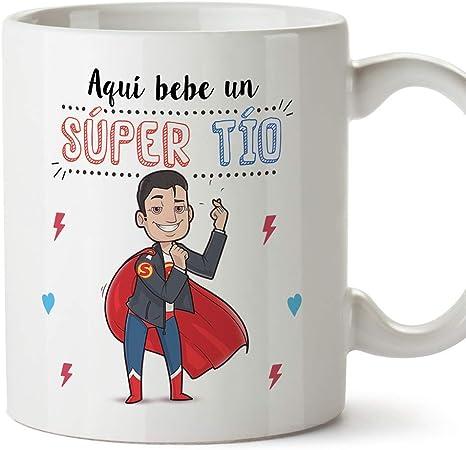 MUGFFINS Tazas Tío - Aquí Bebe un Super Tío - Taza Desayuno Original/Idea Regalo Cumpleaños. Cerámica 350 mL: Amazon.es: Hogar