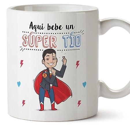 MUGFFINS Tazas Tío – Aquí Bebe un Super Tío – Taza Desayuno Original/Idea Regalo Cumpleaños. Cerámica 350 mL