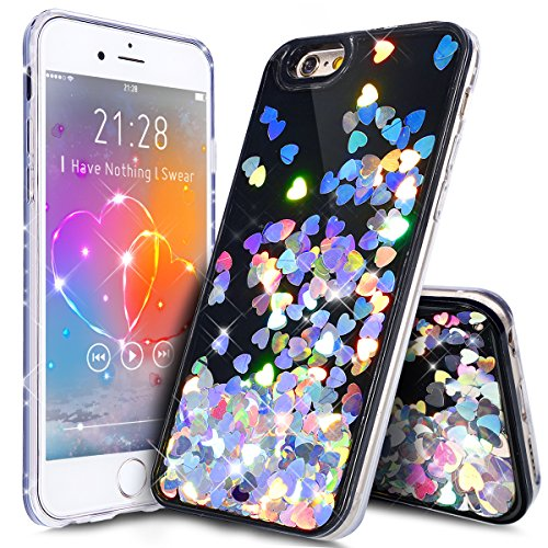 iPhone 6S Case,iPhone 6 Case,ikasus Funny Glitter Quicksand Dynamic Flowing Floating Bling Glitter Sparkle Black Hard with Soft TPU Bumper Cover Case for Apple iPhone 6S / 6 4.7,Black Love Silver