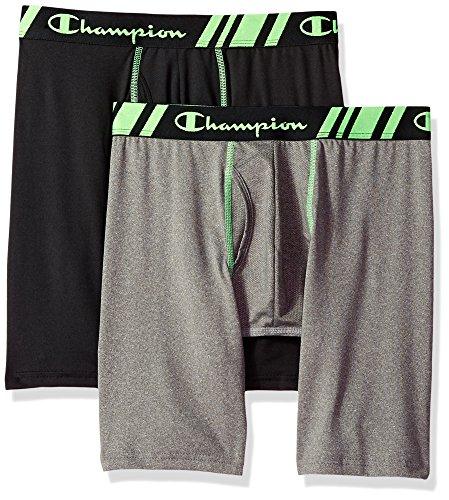 Champion Men's Tech Performance Long Boxer Brief Black/Dynamic, Black/Dynamic Grey Heather, Large