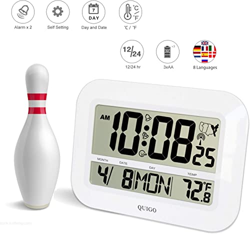 QUIGO Digital Wall Clock Atomic Alarm Extra Large Display Battery Operated Desk Bedroom Office Table Classroom 22 White