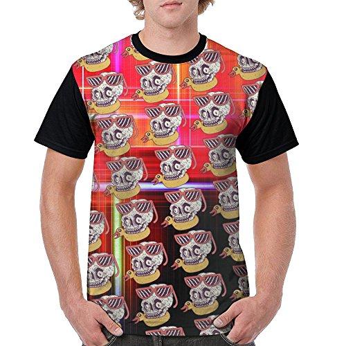 HDShirt Men's Skull Duck Glasses Front Print Crew Neck Short Sleeve Raglan Baseball T-Shirt