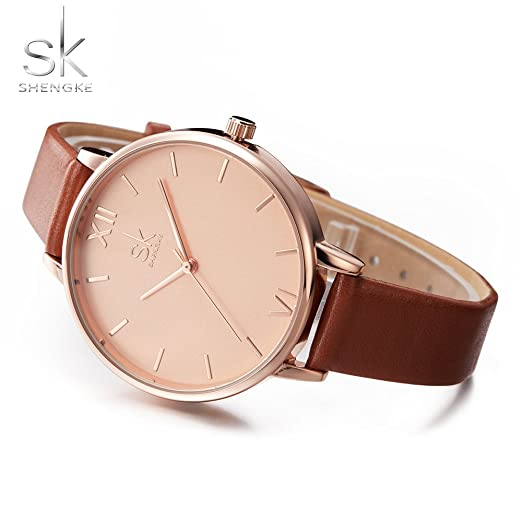 Amazon.com: SHENGKE Creative Simplicity Women Watch Genuine Leather Elegant Women Watches Ladies Business Wristwatch: Watches