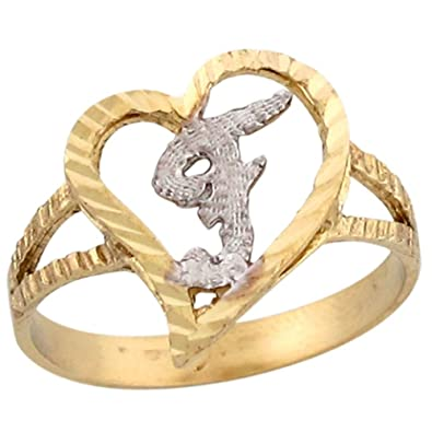 14k two tone gold fancy cursive letter f unique heart initial ring