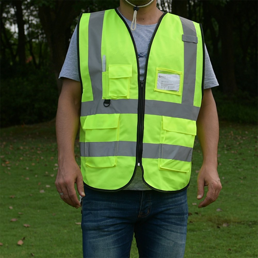 ZOJO High Visibility Reflective Vests,Lightweight Mesh Fabric, Wholesale Safety Vest for Outdoor Works, Cycling, Jogging,Walking,Sports-Fits for Men and Women (Pack of 10, Neon Yellow) by zojo (Image #5)