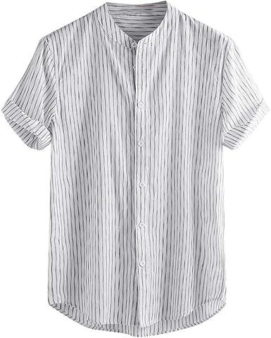 Camisa De Verano Camisa De Lino De Manga Corta para Ropa de Fiesta Hombre Camisa Henley
