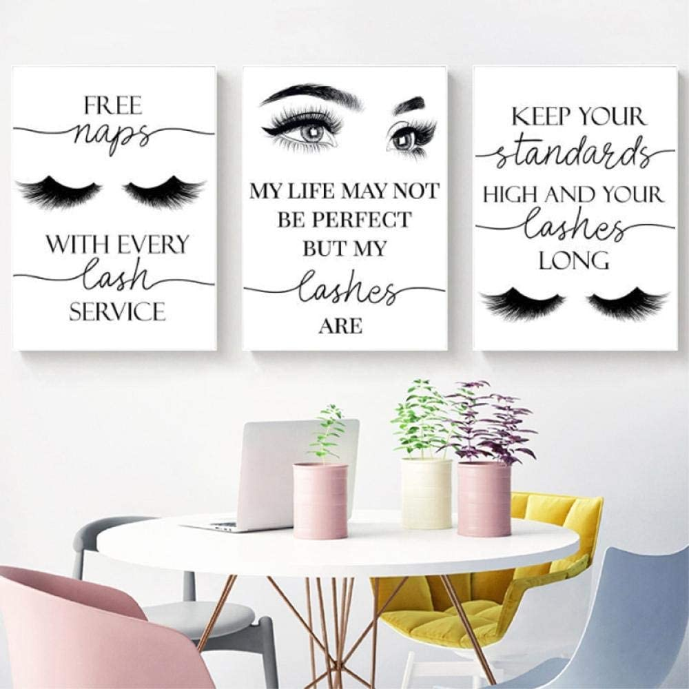 Beauty Salon Wall Decor Eyelashes Guide Poster Makeup Wall Art Decor Esthetician Gift Canvas Print Lash Bundle Fashion Wall Art Modern Artwork for Teen Girls Room 16x24x3 inch No Frame