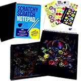 Rainbow Scratch Paper Art Kit for Kids: 20 BIG Sheets of Rainbow Colour Scratch Off Paper in a Notepad + 2 Scratchers - Perfect Gift for Girls or Boys, Children Travel Activity for Airplane or Car