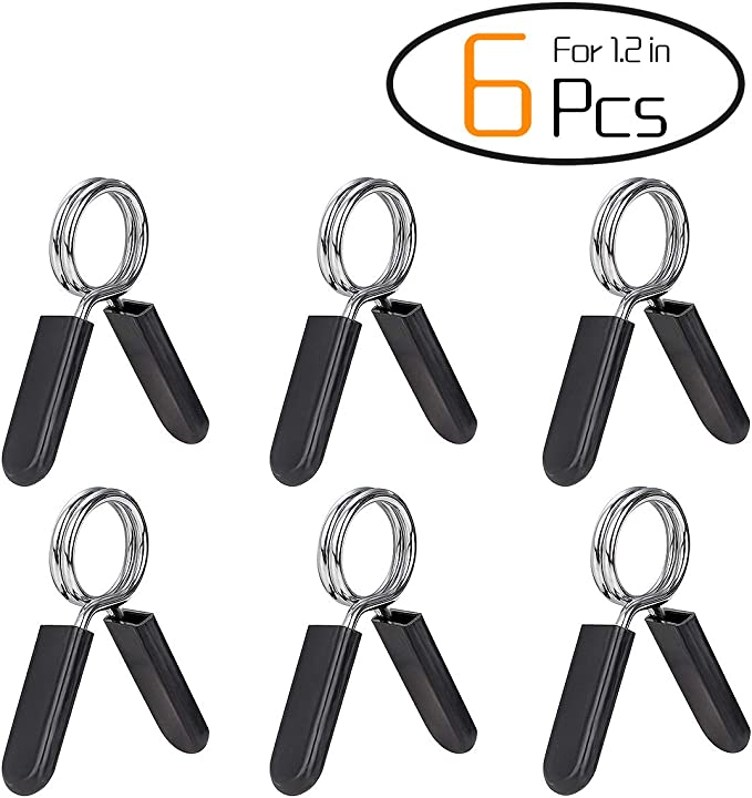 Milter 1Pair Barbell Rubber Grip Gym Trainning Weight Bar Clamp Metal Dumbbell Lock Spring Collar Clips 30mm