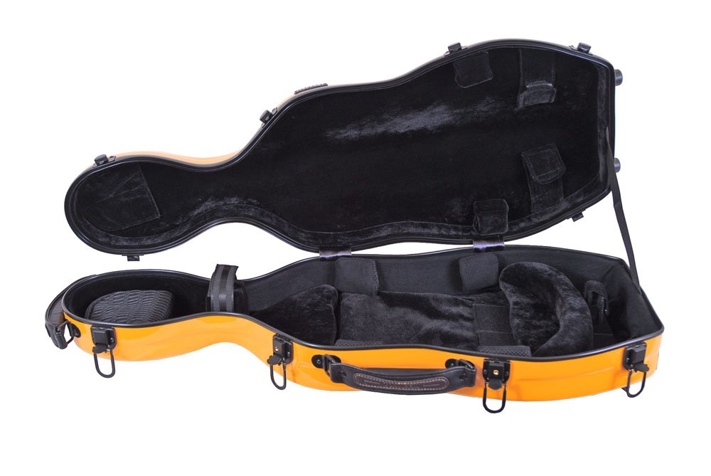 Tonareli Cello-shaped Fiberglass Viola Case w/ Wheels - Orange VAF1012