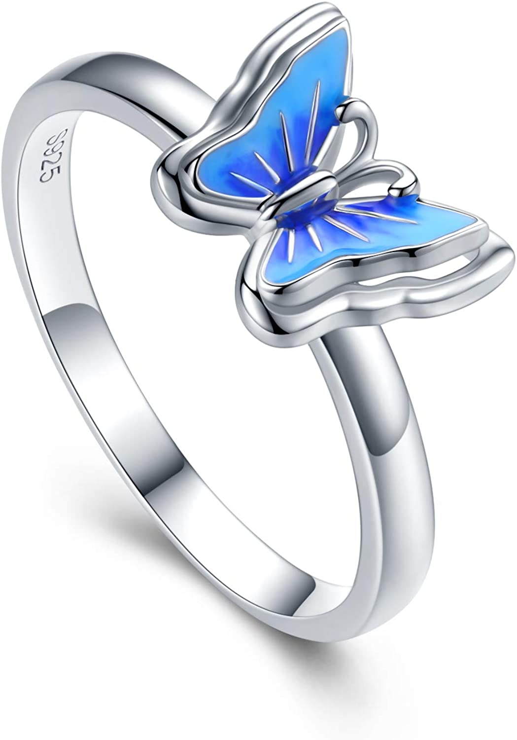 CHENGHONG Butterfly Ring 925 Sterling Silver Stereoscopic Nature Butterfly Jewelry for Mom Minimalist Animal Statement Promise Engagement Wedding Ring for Women,Sizes 7-9