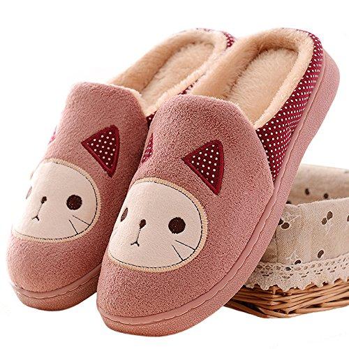 5-ALL Damen Mädchen Plüsch Hausschuhe Winter Frühling Weicher Wärme Pantoffeln Kuschelige Cartoon Katze Slippers TX-8550 (38-39, Rot)