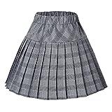 Urban CoCo Women's Elastic Waist Tartan Pleated School Skirt (Series 11 White, M)