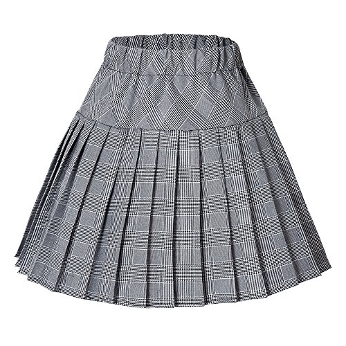 Urban CoCo Women's Elastic Waist Tartan Pleated School Skirt (Large, Series 11 White) -