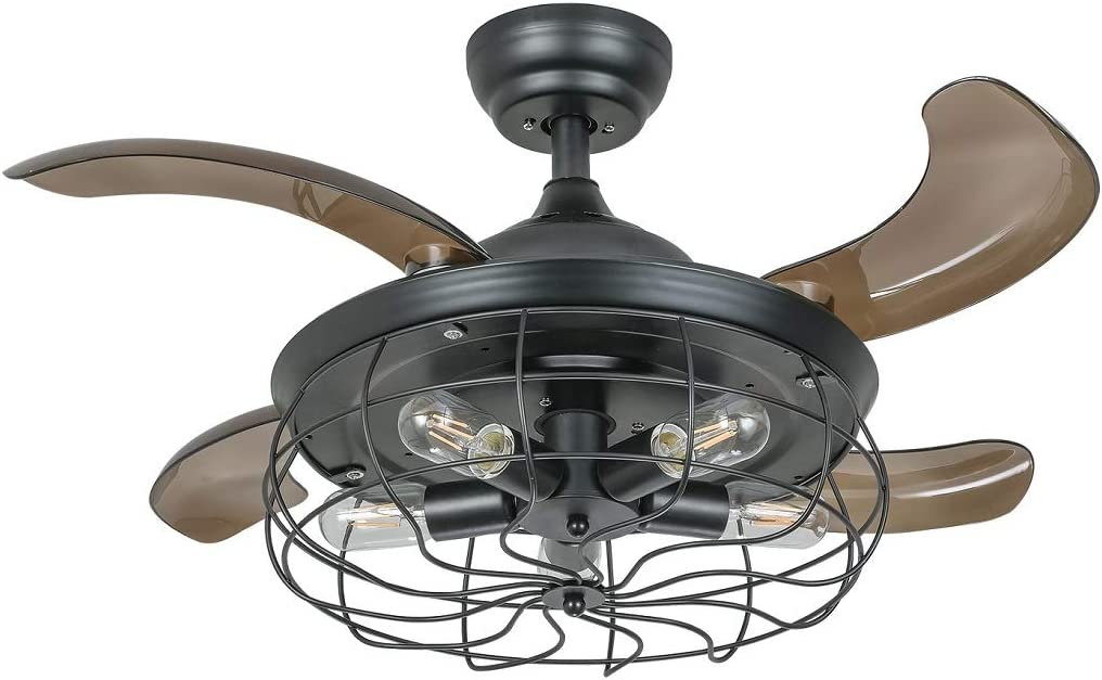 Black Caged Ceiling Fan with Light 36 Inch Industrial Fandelier Reversible & Retractable Blades Vintage Cage Chandelier Fans with Remote Control, 5 Edison Bulbs Not Included