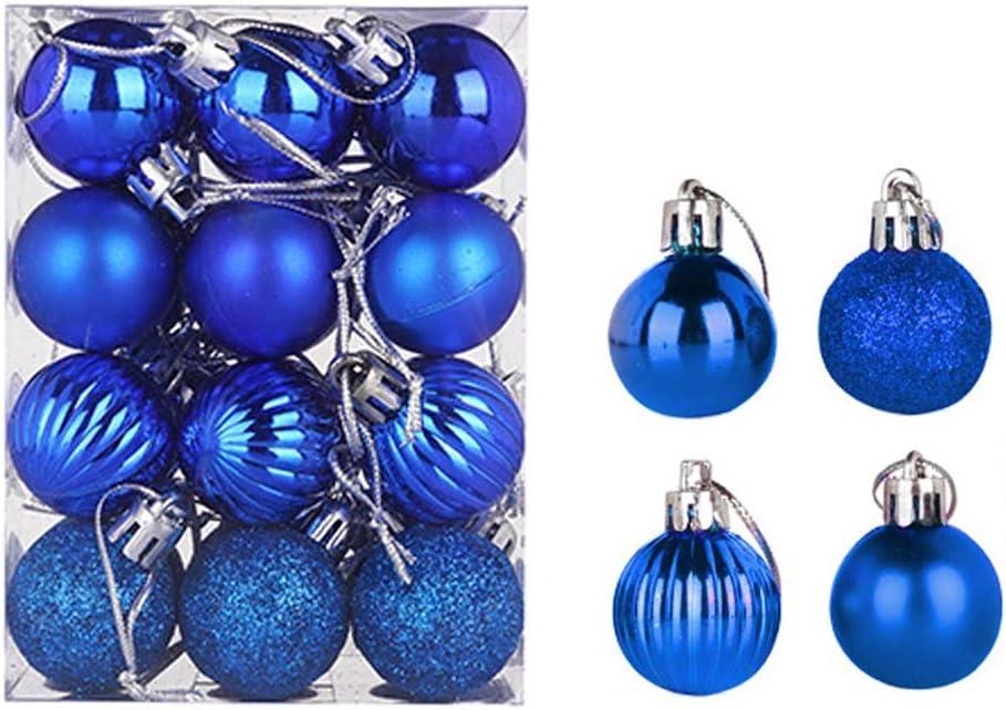 24 pcs Christmas Balls Ornaments Xmas Trees, Wedding Party Decoration Window Dressing, Christmas Tree Decoration Ball (3cm, Royal Blue)