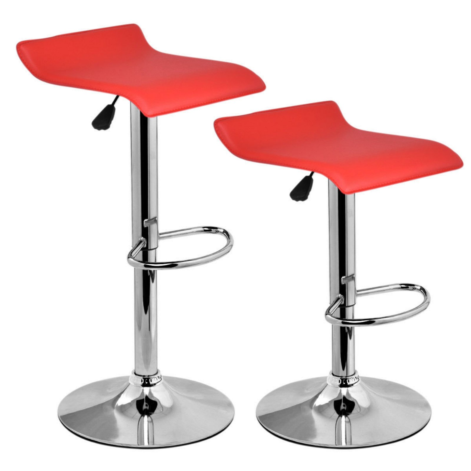 Set Of 2 Swivel Bar Stools Adjustable Waterproof Anti-aging PU Leather Backless Dining Bar Chair Square Red #712