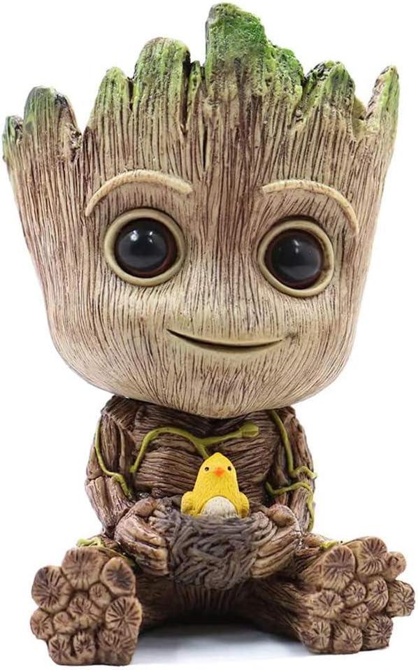 Baby Groot Planter Pot,Cute Bird-Nest Model Succulent Green Plants Flower Pot,Pen Holder with Hole, for Kids, Friends