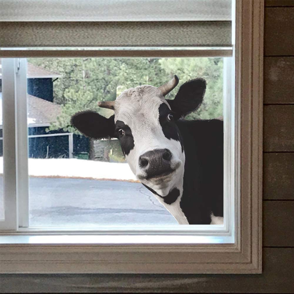 Funny Cow Wall Decor Room Decor, Cute Animal Wall Decals for Classroom Bedroom Living Room Window Store Showcase Wall Decorations