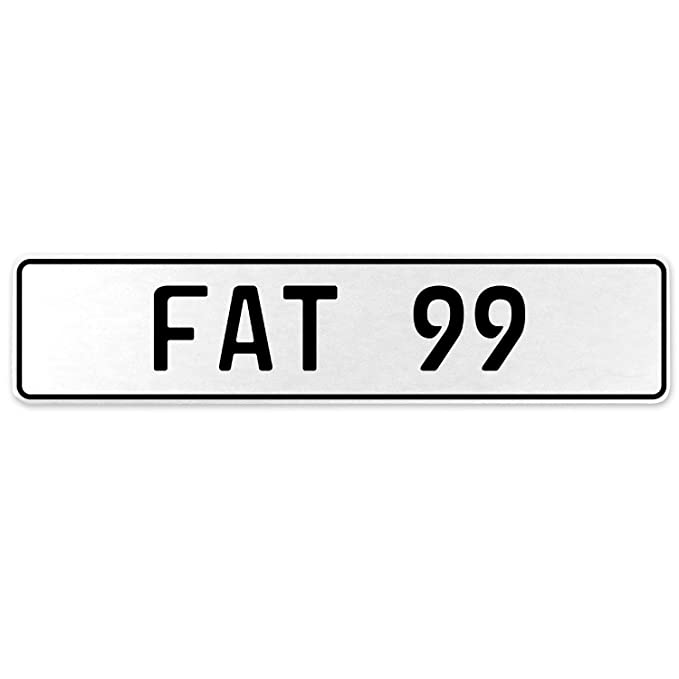 Vintage Parts 554597 Fat 99 White Stamped Aluminum European License Plate