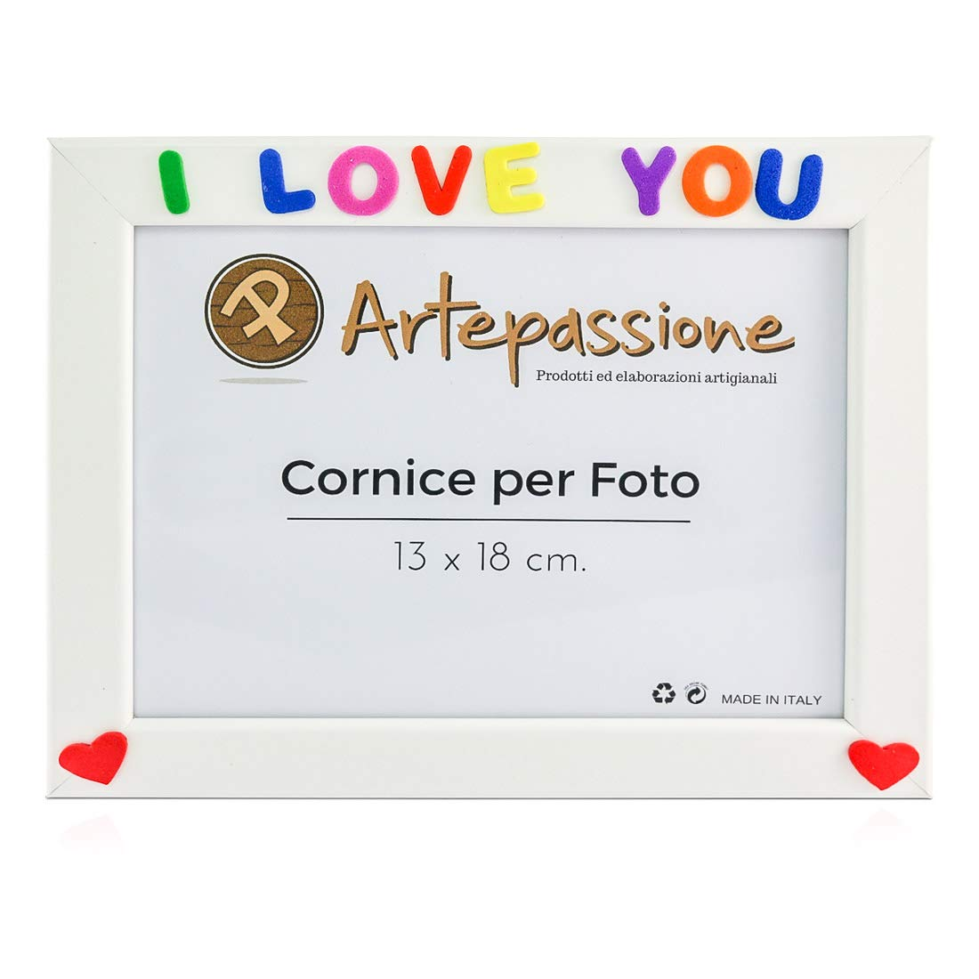13 x 18 cm Artepassion Wooden Photo Frames with I Love You and Decorated with Hearts White
