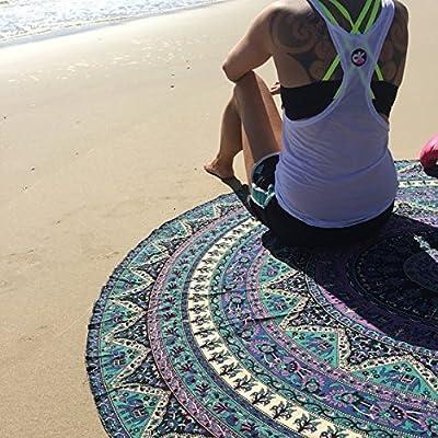 Popular Indian Mandala Round Roundie Beach Throw Tapestry Hippy Boho Gypsy Cotton Tablecloth Beach, Round Beach throw By Popular Handicrafts, 70 inches diameter