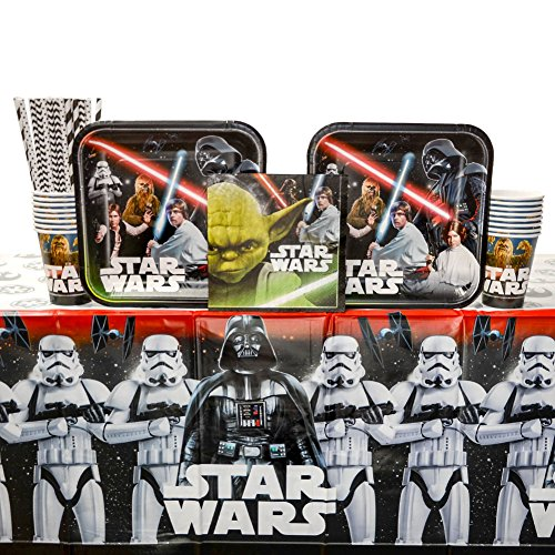 Classic Star Wars Birthday Party Supplies Pack for 16 Guests | Straws, 16 Dinner Plates, 16 Luncheon Napkins, 16 Cups, and Table Cover | Celebrate With Luke Skywalker, Han Solo, -