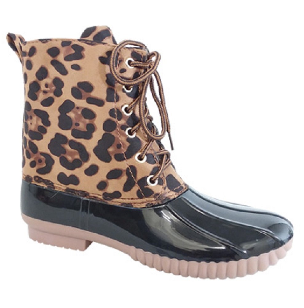 AXNY Dylan Women's Lace up Two Tone Combat Style Calf Rain Duck Boots (7 B(M) US, Leopard)