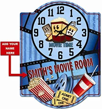 Movie Room Personalized Hardboard clock sign from Redeye Laserworks