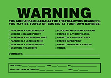 YOU ARE ILLEGALLY PARKED TOWING STICKER - 10 GREEN VIOLATION - No Parking  stickers.