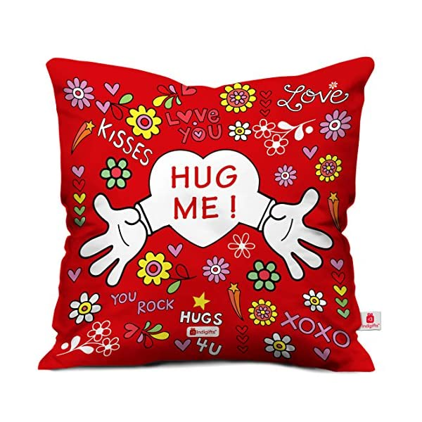 61x3sP LmmL Indigifts Valentine Gift for Boyfriend Love Hug Me Quote Red Cushion Cover 12x12 inches with Filler - Valentine Gifts…