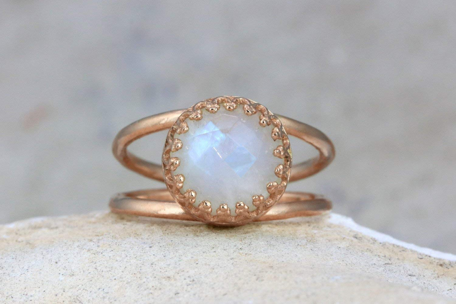 Round Shaped 14CT Moonstone Rose Gold Ring By Anemone Jewelry - 14K Gold Double Band Ring For Women Sizes 3 To 12.5 [Handmade]