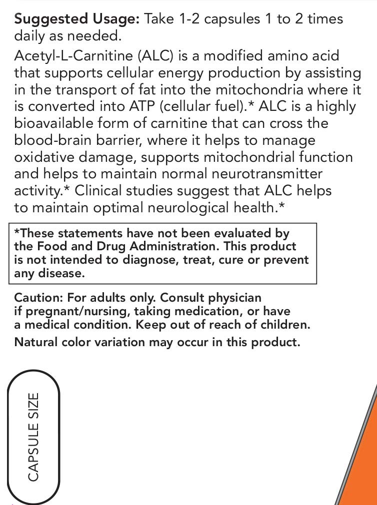 Now Acetyl-L-Carnitine 500 mg, 360 Veg Capsules