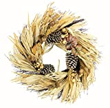 Admired By Nature GFW7018-Natural 24'' Faux Pumpkin Wheat Berry Corn Husk Wreath
