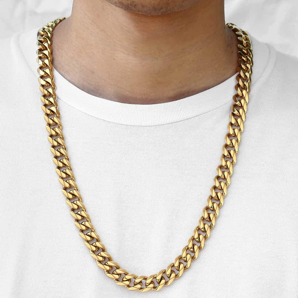 Trendsmax 15mm Heavy Polished Silver Gold Cut Curb Cuban Mens Chain Boys 316L Stainless Steel Necklace