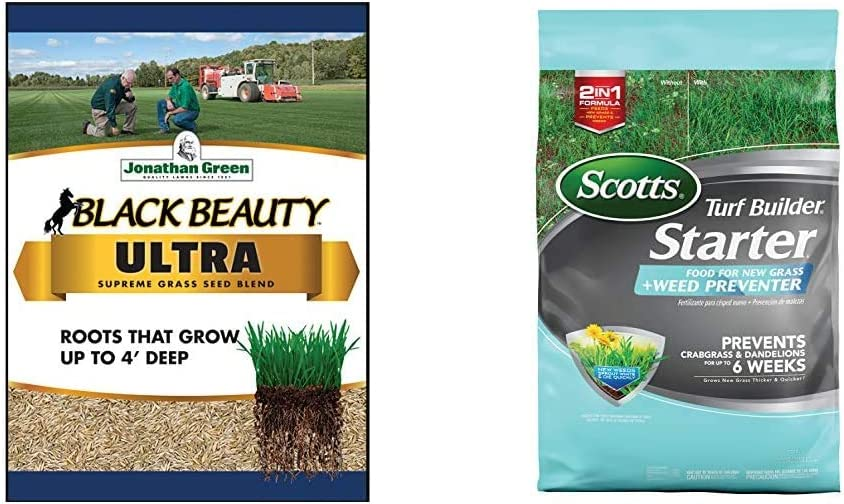 Jonathan Green 10323 Black Beauty Ultra Mixture, 25-Pound & Scotts Turf Builder Starter Food for New Grass Plus Weed Preventer - 2-in-1 Formula - Covers 5,000 sq. ft.