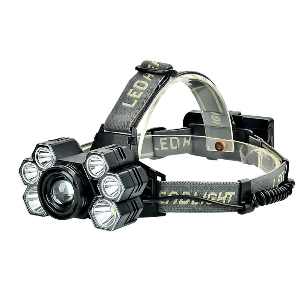 HUIHUAN Led Headlight 7LED Focusing Headlights USB Charging HeadMounted Flashlight Outdoor Hunting Fishing Lights