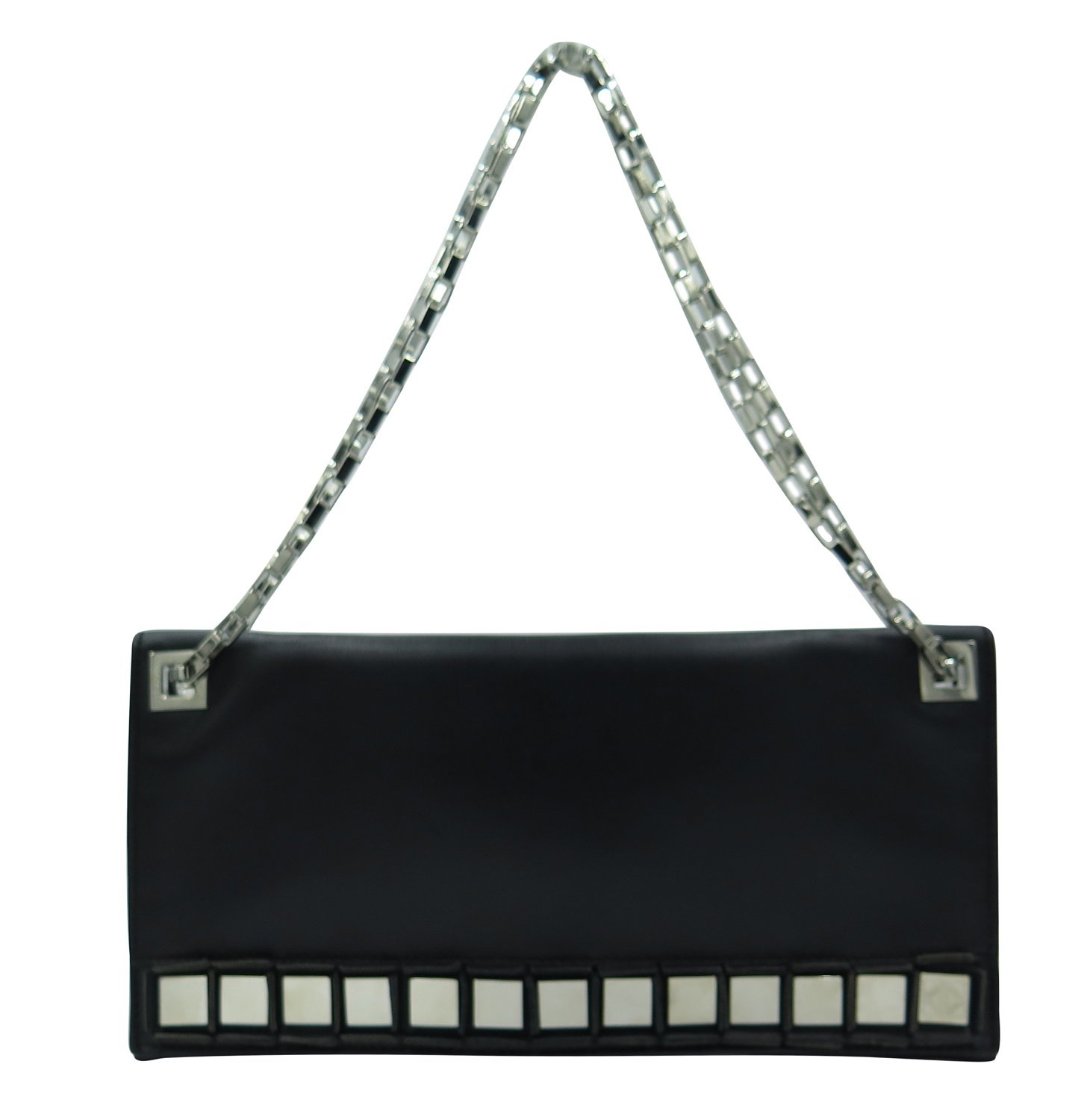Tomasini Black Leather Mirror Embellished Clutch by Tomasini