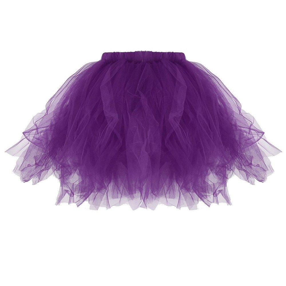 Women Pleated Short Skirt, Casual Pleated Tutu Adult Tutu Skirt Pleated Mini Party Skirts (Purple, Fre Size)