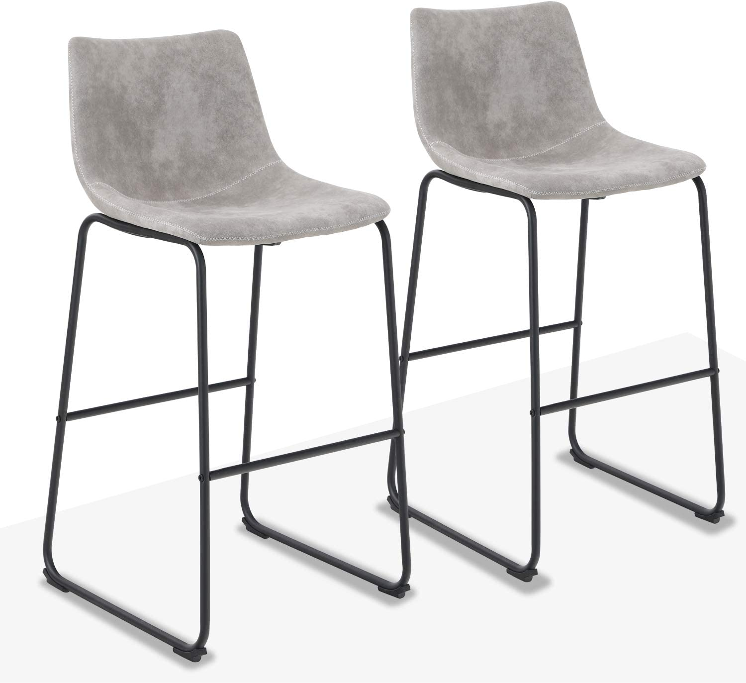 Image of Home and Kitchen ALPHA HOME 30' Bar Stools Vintage Leathaire Counter Height Stools Pub Kitchen Chairs, Dining Room Furniture - 350 lbs Capacity, Grey