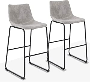 """ALPHA HOME 30"""" Bar Stools Bar Chair Counter Height Stools Vintage Leathaire Bar Height Stools Pub Kitchen Chairs, Dining Room Furniture - 350 lbs Capacity,Grey"""