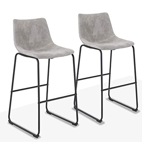 Groovy Alpha Home 30 Bar Stools Vintage Leathaire Counter Height Stools Pub Kitchen Chairs Dining Room Furniture 300 Lbs Capacity Grey Ibusinesslaw Wood Chair Design Ideas Ibusinesslaworg