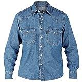 Duke London Mens Western Button Up Denim Shirt - Stone Wash - Medium