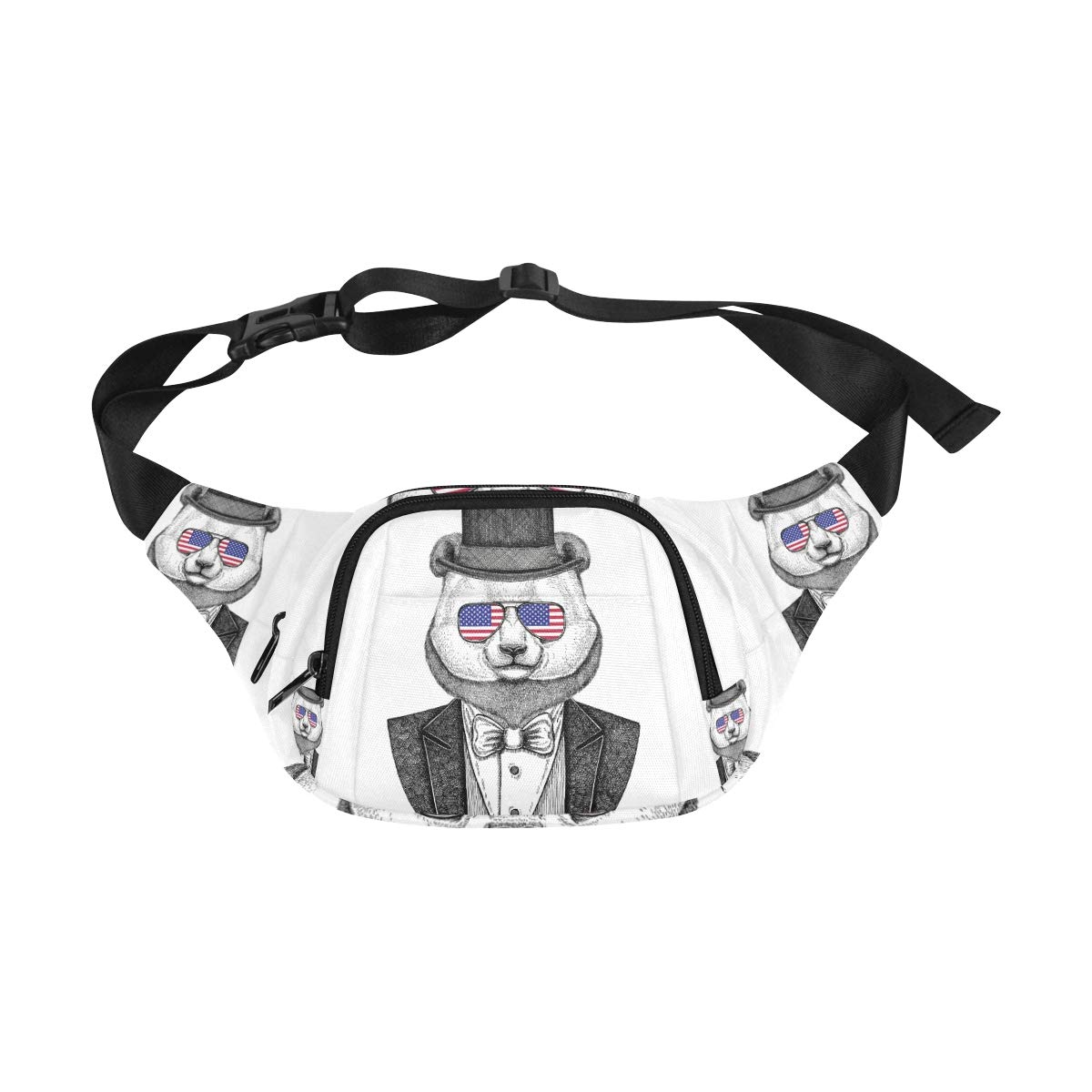 Dressed Up Hipster Panda In Glasses Fenny Packs Waist Bags Adjustable Belt Waterproof Nylon Travel Running Sport Vacation Party For Men Women Boys Girls Kids