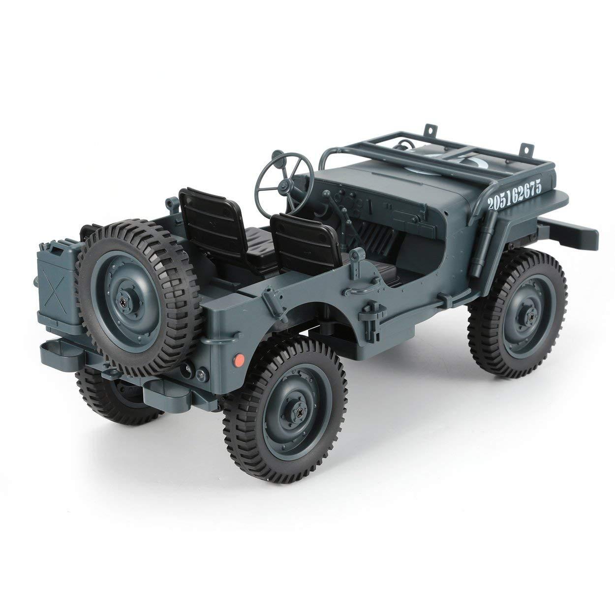Lorenlli C606 1:10 RC Car 2.4G 4WD Convertible Control Remoto de luz Jeep 4 Ruedas motrices Off-Road Militar Escalada Coche de Juguete Kid Regalo