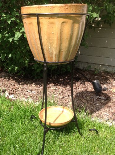 Large Elevated Outdoor Ceramic Urn or Cooler with a Stand - Burning Cream ()
