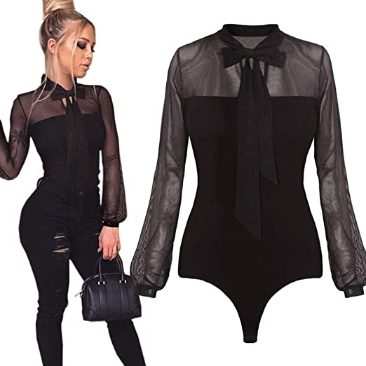 0d67167ce4e0 Rambling New Women Sexy Black Mesh Sheer Long Sleeve Bodycon Bodysuit  Jumpsuit Tops (Black