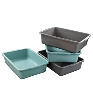 Xyskin Plastic Rectangle Washing up Bowls Basins Utility Tub Trays, Mint Green and Grey, 4 Packs