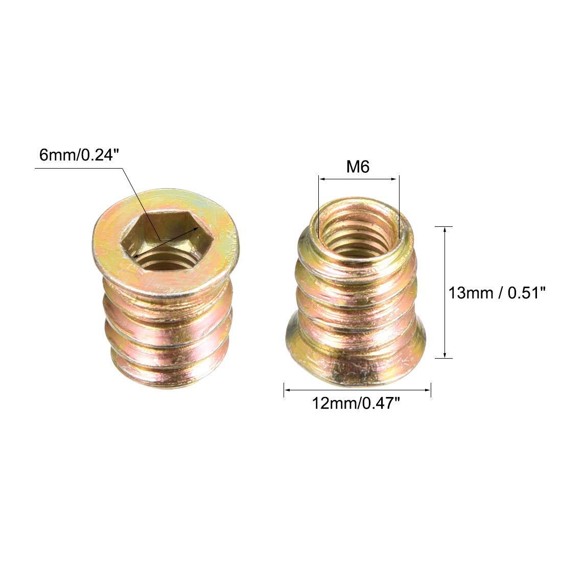 uxcell Wood Furniture M6x13mm Threaded Insert Nuts Interface Hex Socket Drive 100pcs