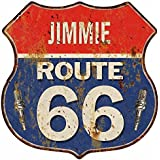 JIMMIE Route 66 Red White Blue Shield Sign Garage Man Cave Gift Decor S126631